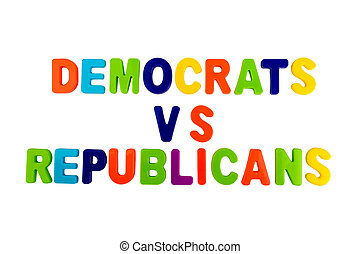 Text DEMOCRATS VS REPUBLICANS on a white background