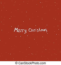 Text design of Merry Christmas on red color background. Hand dra