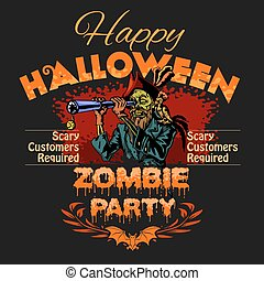 text., dia das bruxas, zombie, desenho, modelo, partido, lugar