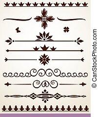 Horizontal dividing elements, borders and decorations