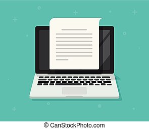 Text document writing on computer vector illustration, flat cartoon laptop screen with article page reading icon symbol isolated, concept of blogging or letter creation clipart