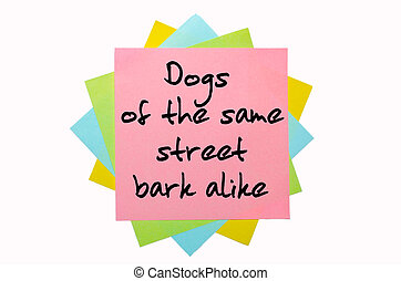 "text ""Dogs of the same street bark alike"" written by hand font on bunch of colored sticky notes"