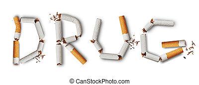 DRUG - Text ''DRUG'' made from broken cigarettes