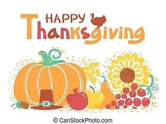 text., dzień, dziękczynienie, wektor, handwritten, piękny, karta, szczęśliwy, ilustracja, jesień