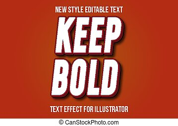 text effect 3d keep bold color white and red gradient