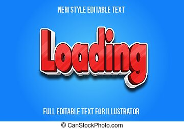 text effect 3d loading color red and white gradient