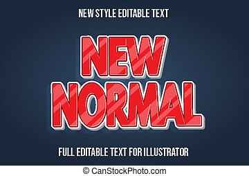 text effect 3d new normal color red and white gradient