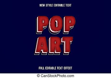 text effect 3d pop art color red and white