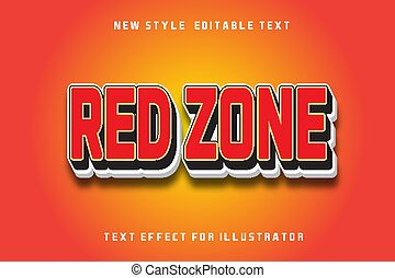 text effect 3d red zone color red and white gradient