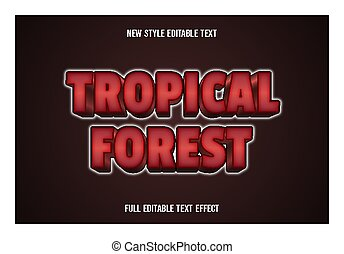 text effect 3d tropical forest color red and white