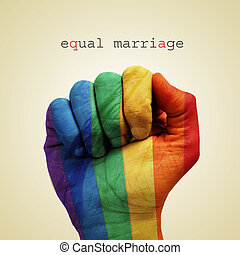 equal marriage - text equal marriage and a man hand ...