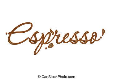 text, espreso, čokoláda