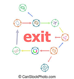 Text Exit. Social concept . Linear Flat Business buttons. Marketing promotion concept. Win, achieve, promote, time management, contact