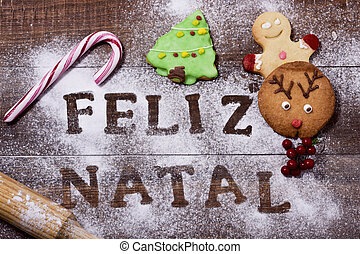 text feliz natal, merry christmas in portuguese