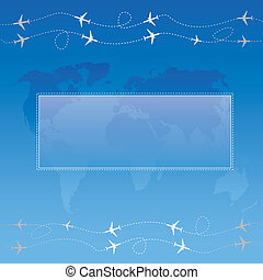 Text field - Blue bubble for speech over globe map with...