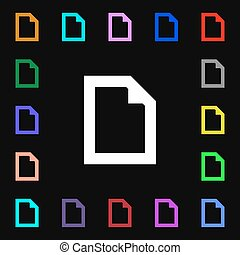 Text File document  icon sign. Lots of colorful symbols for your design. Vector