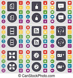 Text file, Flag tower, Chat bubble, Negative films, RSS, Headphones, Full screen, Gear, Cassette icon symbol. A large set of flat, colored buttons for your design. Vector
