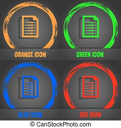 Text file icon. Fashionable modern style. In the orange, green, blue, red design. Vector