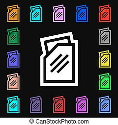 Text file icon sign. Lots of colorful symbols for your design. Vector