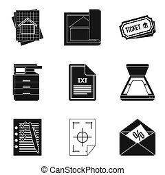 Text file icons set, simple style