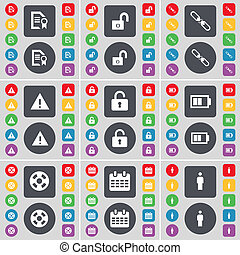 Text file, Lock, Link, Warning, Lock, Battery, Videotape, Calendar, Silhouette icon symbol. A large set of flat, colored buttons for your design.