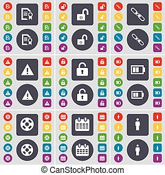 Text file, Lock, Link, Warning, Lock, Battery, Videotape, Calendar, Silhouette icon symbol. A large set of flat, colored buttons for your design. Vector