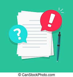 Text file or document comments and remarks vector illustration, flat cartoon warning or caution alert messages on paper letter content, attention notification chat error and question bubbles image