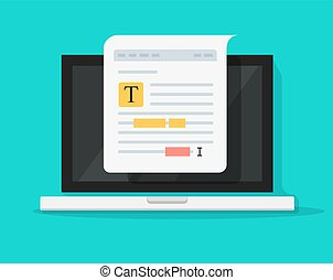 Text file or document content editing on computer laptop vector icon, flat cartoon creating online notes or writing electronic documents on pc, author or copywriting concept symbol isolated