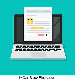 Text file or paper document content editing online on computer vector icon flat cartoon