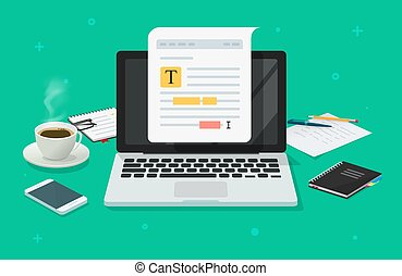 Text file or document content editing online on laptop computer on working desk table vector flat cartoon, creating online notes on pc or writing electronic document text grammar, study or learning