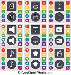Text file, Printer, Golf hole, Sound, Monitor, Cassette, Note, Cooking hat, Clapper icon symbol. A large set of flat, colored buttons for your design. Vector
