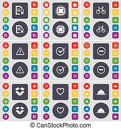 Text file, Processor, Bicycle, Warning, Tick, Minus, Dropbox, Heart, Tray icon symbol. A large set of flat, colored buttons for your design. Vector
