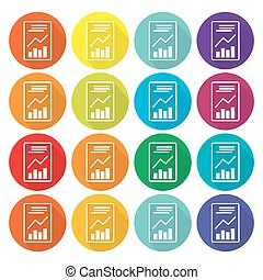 Text file sign icon. Add  document with chart symbol. Accounting . Circles and rounded squares 12 buttons. Vector