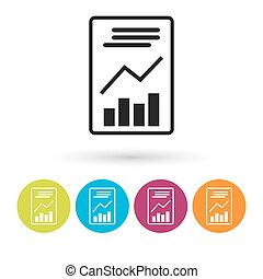 Text file sign icon. Add  document with chart symbol. Accounting . Round colourful 11 buttons. Vector