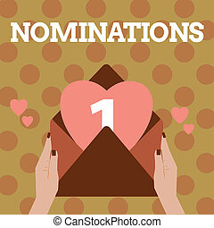 text, firma, showing, nominations., pojmový, fotografie, suggestions, o, někdo, nebo, cosi, jako, jeden, zaměstnání, postavení, nebo, cena