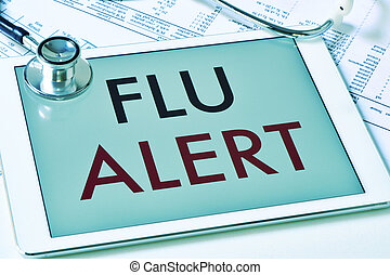 text flu alert in a tablet computer