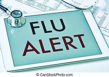 text flu alert in a tablet computer
