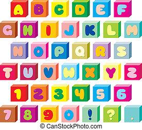 text font - Text font with color children's bricks