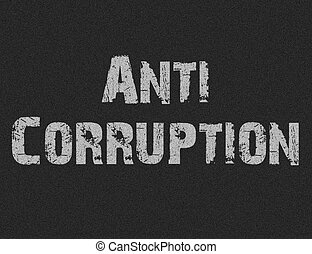 Text for Anti Corruption on black background for any design