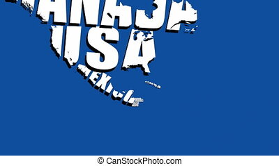 Text forming countries on blue back