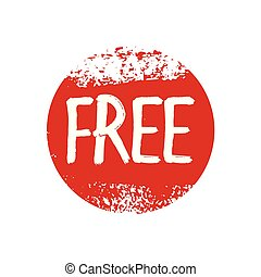 Text FREE and red, grunge stamp. Icon, texture and vector background.