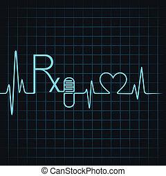 text, göra, kapsel, hjärtslag, rx