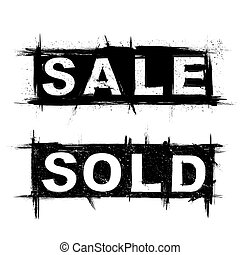 Text grunge sale and sold