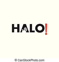 text halo hand symbol logo vector