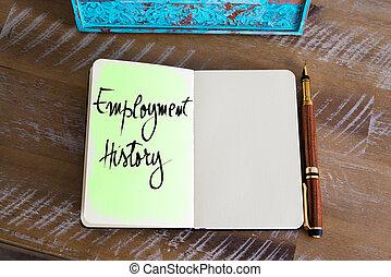 text, handgeschrieben, anstellung, geschichte
