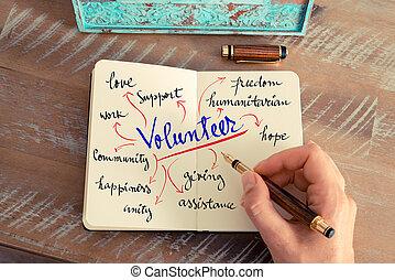 text, handgeschrieben, freiwilliger
