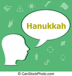 Text Hanukkah on digital background. Holiday concept . Head with speech bubble