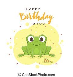 Text Happy Birthday and Green Frog on Blue Background