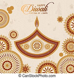 text happy diwali and candle decorations on beige background
