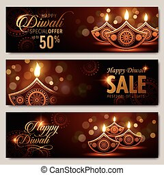 text happy diwali special offer 50 percent off and candle...